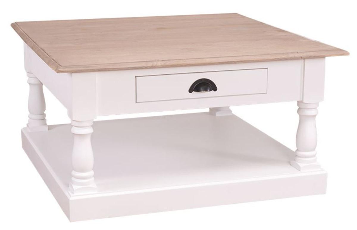 casa padrino landhausstil couchtisch mit schublade 90 x 90 x h 47 cm landhausstil m bel. Black Bedroom Furniture Sets. Home Design Ideas