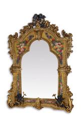 Casa Padrino Luxus Barock Wandspiegel Gold - 138,5 cm x 101 cm - Goldener Spiegel mit Blumenapplikationen