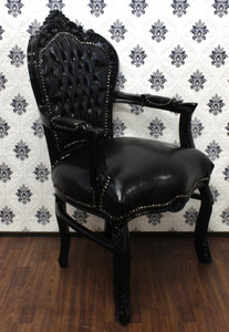 Baroque dining room chair with arms black / black leather look – Bild
