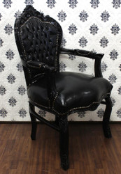 Baroque dining room chair with arms black / black leather look