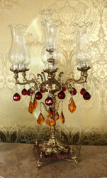 Casa Padrino Baroque Crystal Stool Light - H 86 cm - Red / Orange - Chandelier