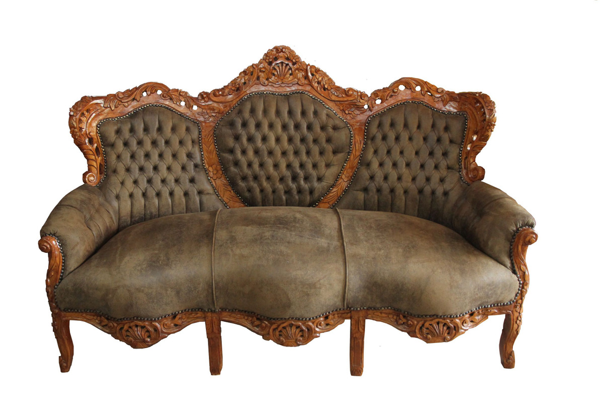 Barock sofa garnitur king hellbraun braun sofas barock sofas for Sofa garnitur