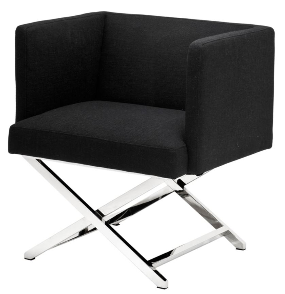 Casa Padrino Luxus Club Sessel in silber / schwarz 66 x 57 x H. 74 cm - Art Deco Möbel 1