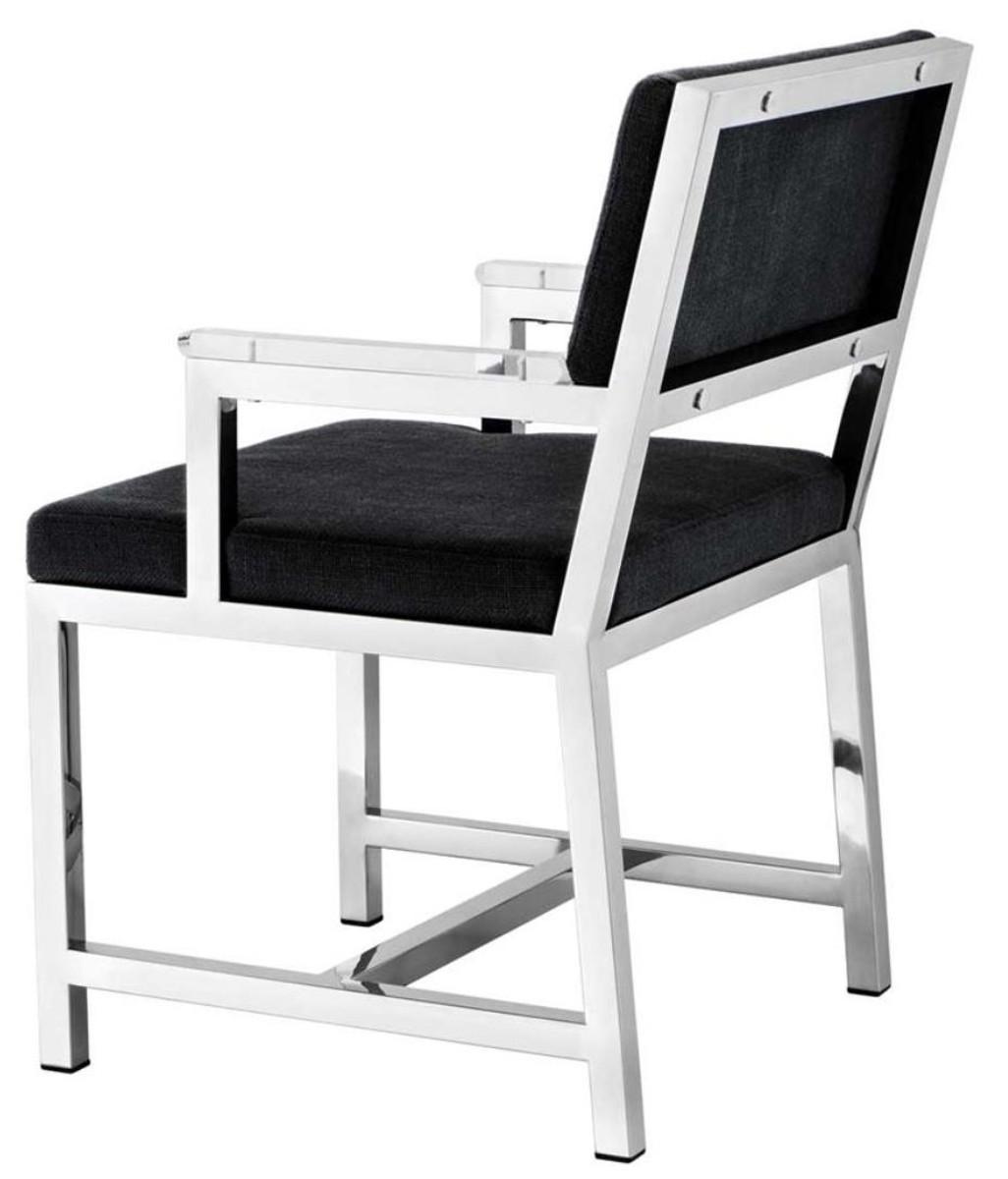 Casa Padrino Designer Stuhl mit Armlehnen 55 x 59 x H. 82 cm - Luxus Büromöbel 3