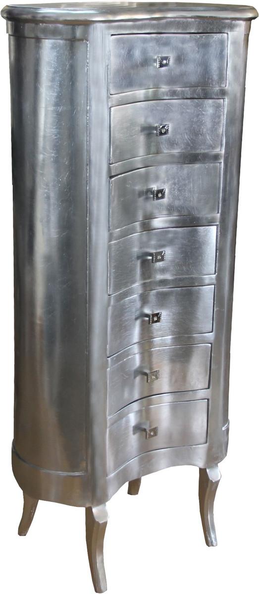 Casa Padrino Barock Kommode Silber mit 7 Schubladen Oval - Antik Stil - Barock Möbel 3