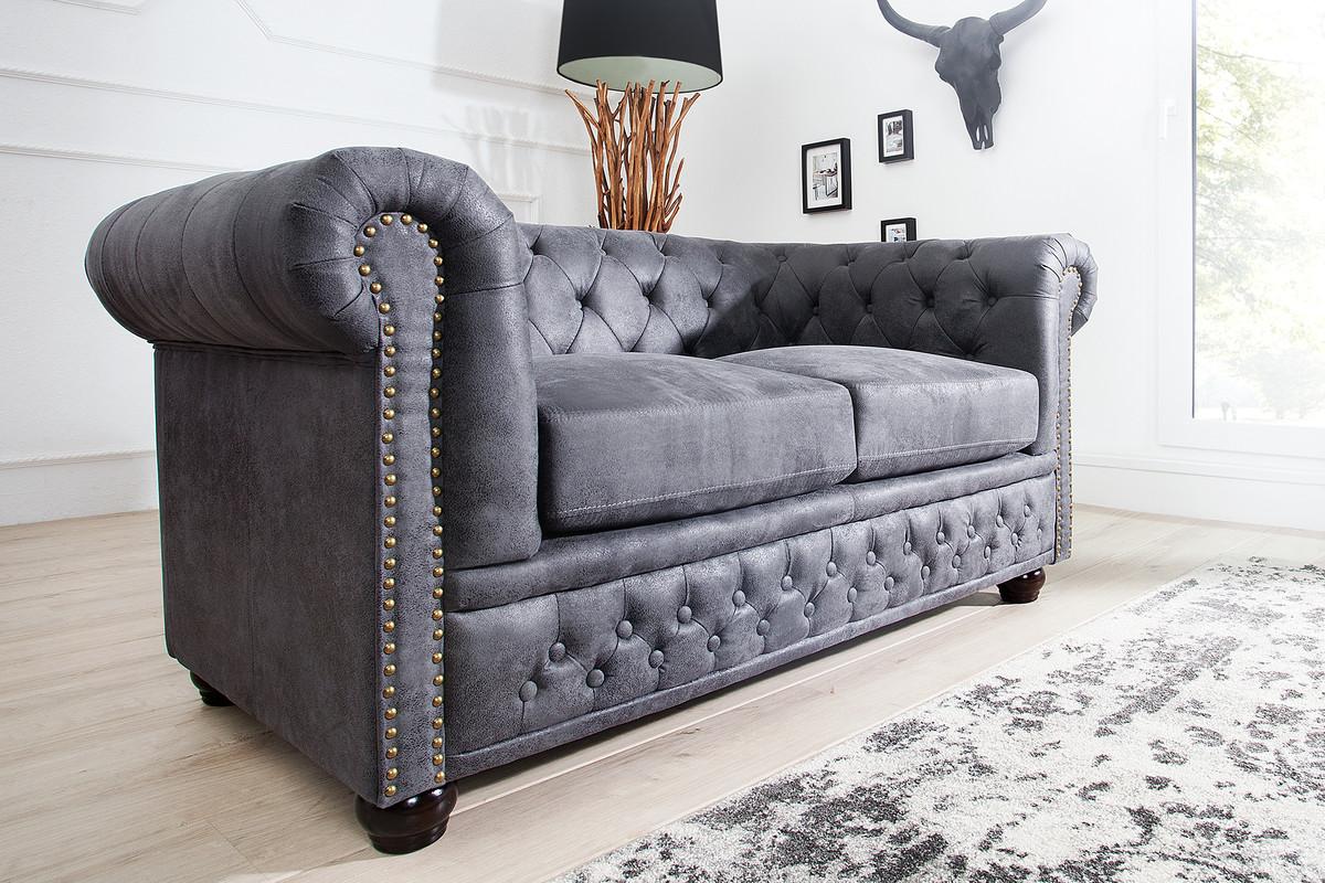 Chesterfield 2er Sofa Antikgrau aus dem Hause Casa Padrino ...
