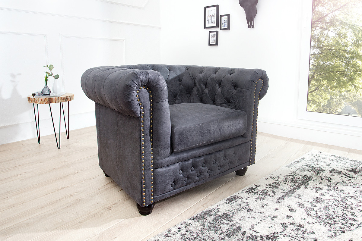 Casa padrino chesterfield sessel antikgrau lounge sessel - Chesterfield wohnzimmer ...