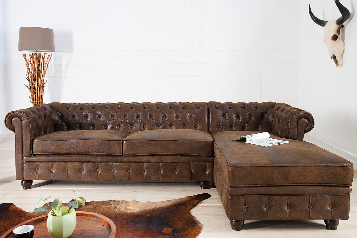 Casa Padrino Chesterfield Ecksofa In Antikbraun   Wohnzimmer Möbel   Couch