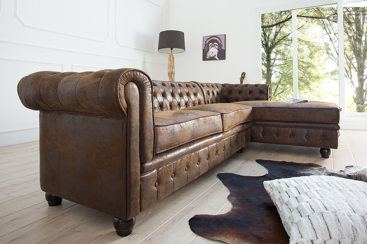 Casa padrino chesterfield ecksofa in antikbraun - Chesterfield wohnzimmer ...