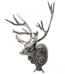 Riesiger Massiver Luxus Hirschkopf Höhe: 130 cm, Breite: 110 cm, Tiefe: 5 cm edle Skulptur aus Aluminium, antik silver finish  - Edel & Prunkvoll - Hirsch Geweih