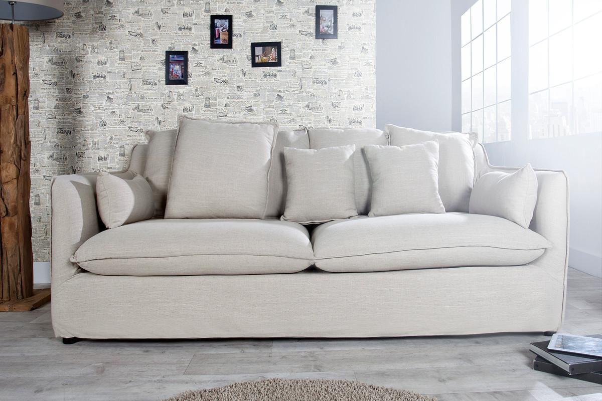 Casa Padrino Designer Wohnzimmer 3er Sofa Beige Luxus Qualitat