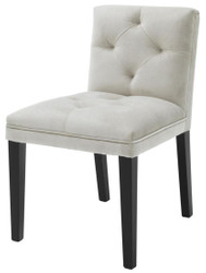 Casa Padrino luxury dining chair in light gray with black legs 50 x 59 x H. 79 cm - dining room furniture
