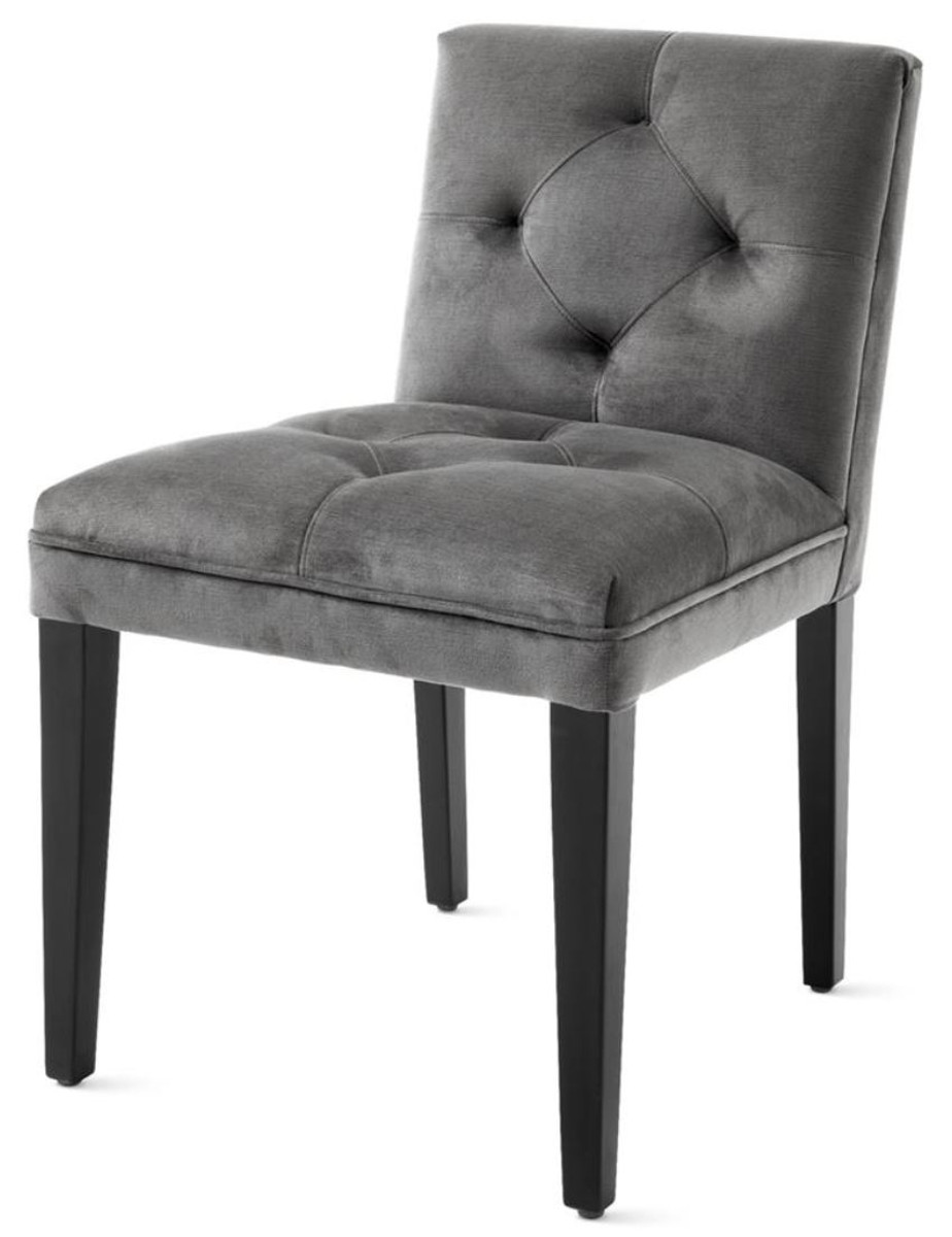 Casa padrino luxury dining chair in dark gray with black for Dining room chairs 50