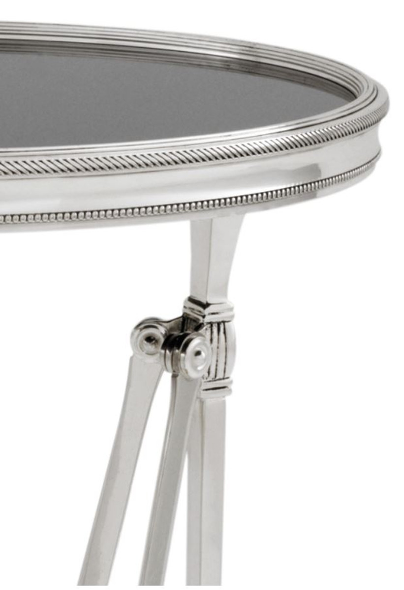 Side Table 100 Cm.Casa Padrino Side Table In Antique Silver With Black Glass Plate 36 X H 100 Cm Luxury Quality