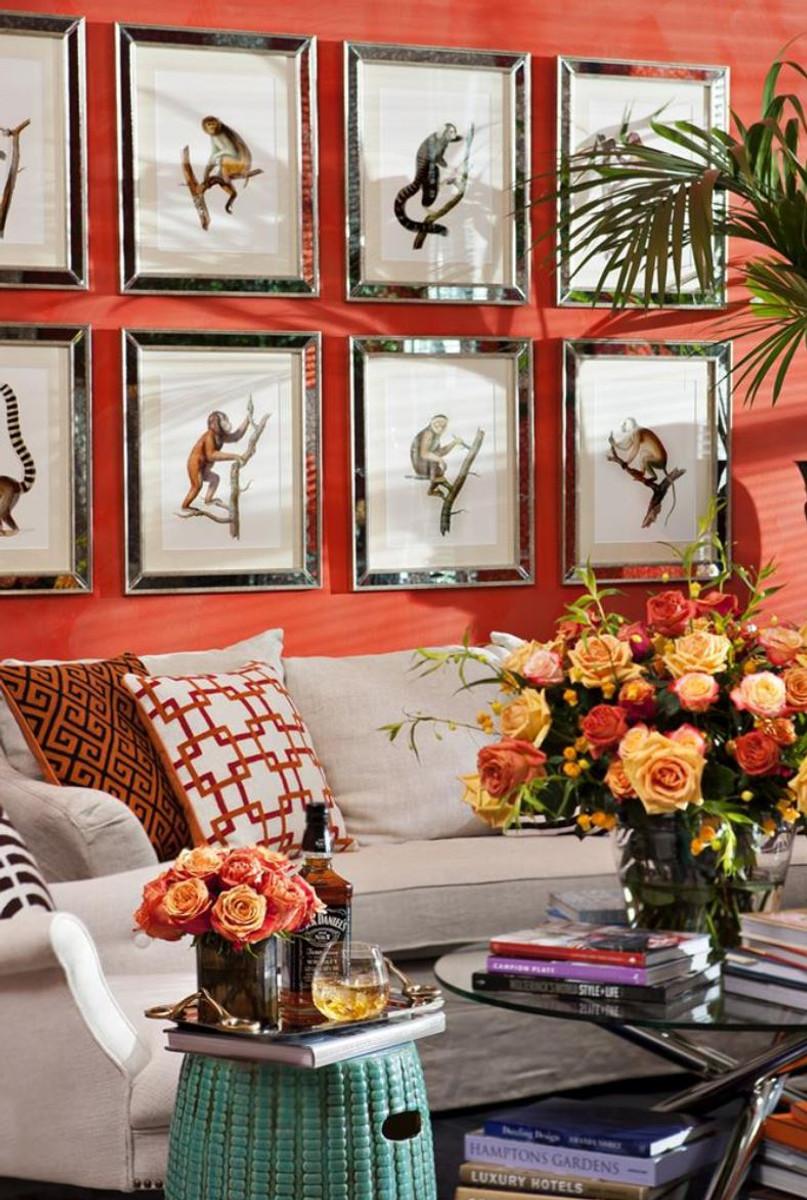 Casa Padrino Zierkissen in weiß / orange / rot 50 x H. 50 cm - Luxus ...