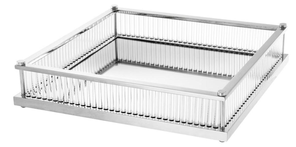 Casa Padrino Luxus Serviertablett Silber 39 5 X 39 5 X H 9 Cm