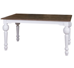 Casa Padrino dining table white / dark brown 160 x 90 x H. 78 cm - country style furniture