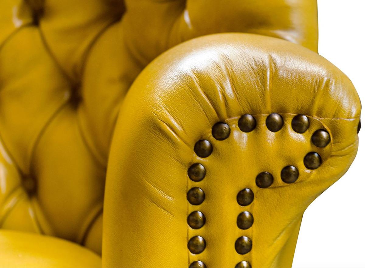 Casa padrino luxury leather chair yellow black 84 x 85 x for Ohrensessel union jack