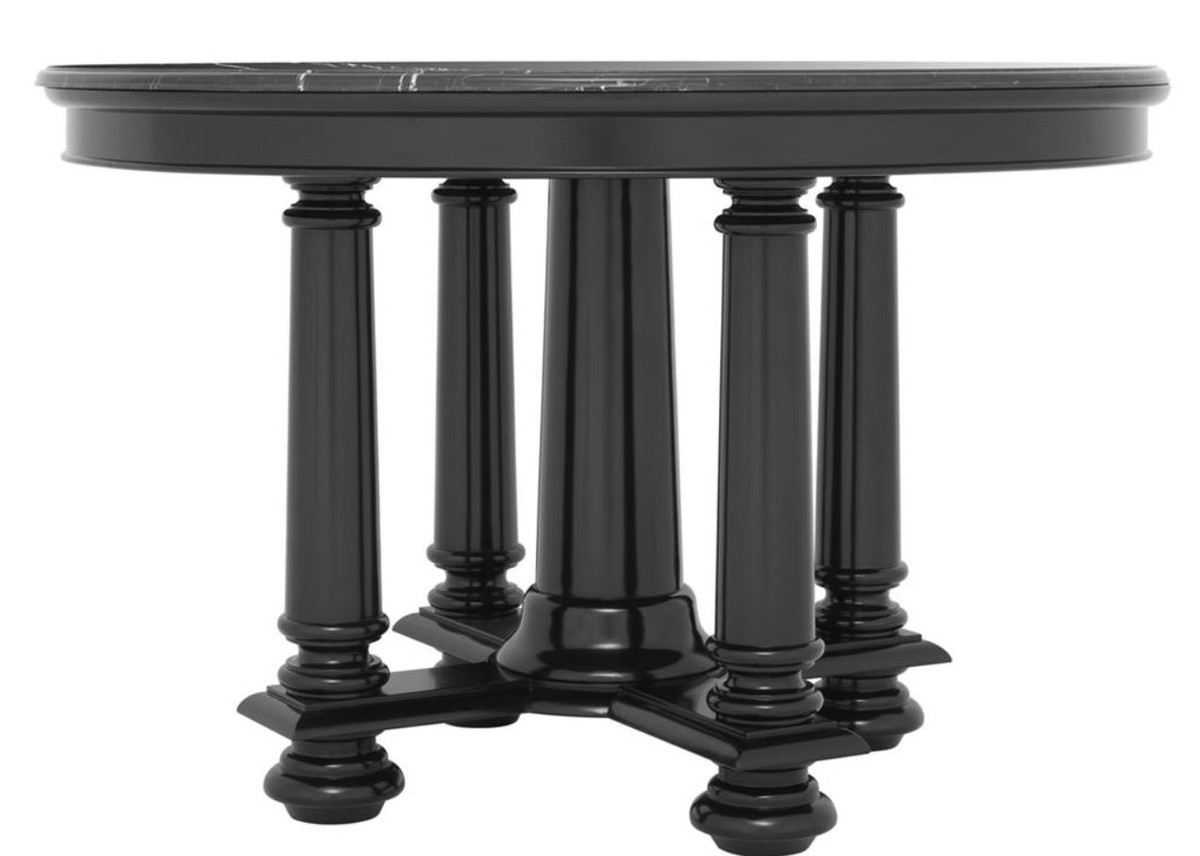 Casa Padrino Luxury Hotel Salon Table In Black With Black Marble Top 120 5 X H 78 Cm Luxury Quality