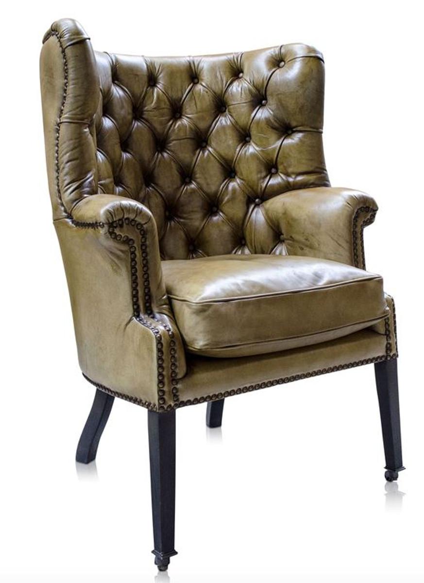 Casa Padrino Luxus Echtleder Sessel Gelb Schwarz 84 X 85 X H 112
