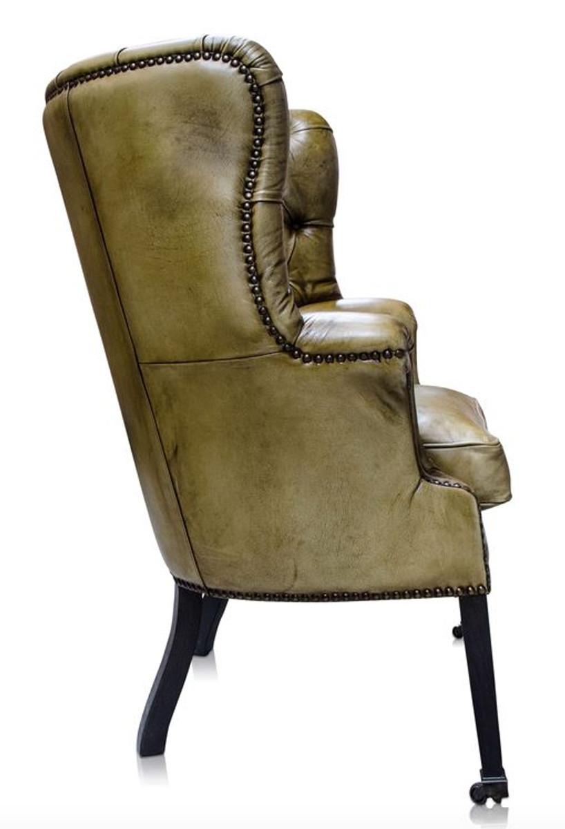 casa padrino luxus echtleder sessel gelb schwarz 84 x 85 x h 112 cm luxus hotel m bel. Black Bedroom Furniture Sets. Home Design Ideas