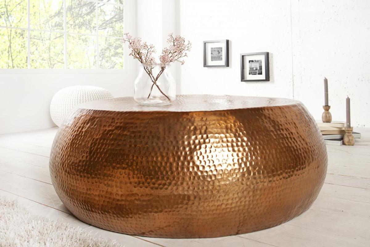 Casa Padrino Luxus Couchtisch Kupfer 90cm Kupfer Wohnzimmer Salon