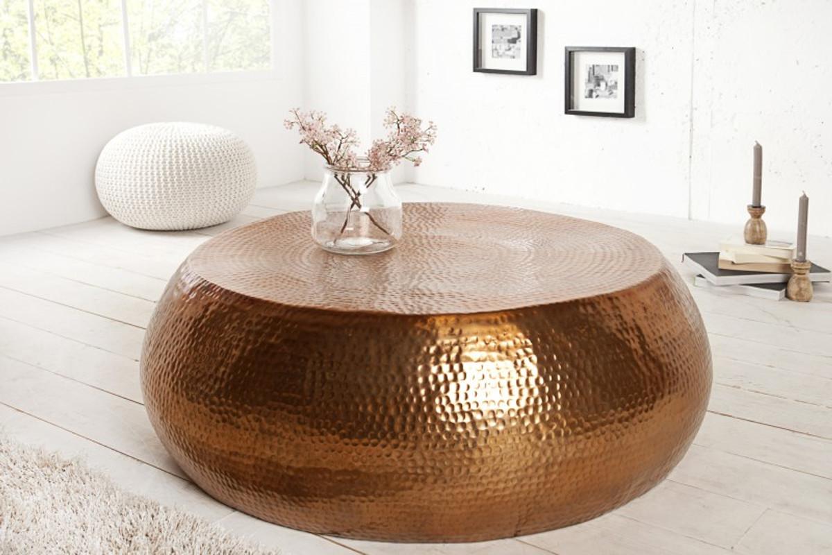 Casa Padrino Luxus Couchtisch kupfer 82 cm kupfer - Wohnzimmer Salon Tisch