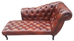 Casa Padrino Chesterfield Chaise Longue / Recamiere Genuine Leather Dark Brown