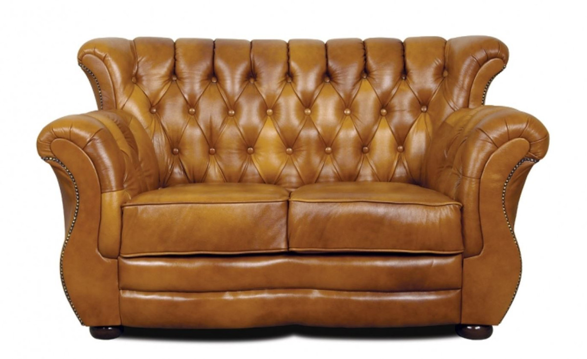 Casa padrino luxury chesterfield genuine leather 2 seater for Sofa 90 cm tief