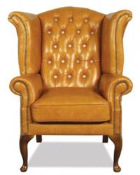 Casa Padrino genuine leather armchair with glittering stones 95 x 95 x H. 110 cm - Luxury Living Room Ears Armchair
