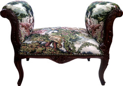 Casa Padrino Baroque stool Stool Tapestry / Brown - Bench