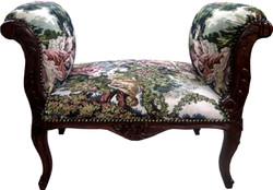 Casa Padrino Barock Schemel Hocker Gobelin / Braun - Sitzbank - Möbel Antik Stil
