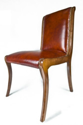 Casa Padrino Genuine Leather Dining Chair Brown 50 x 47 x H. 95 cm - Luxury Furniture