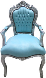 Casa Padrino Baroque dining chair with armrests turquoise / silver - furniture antique style