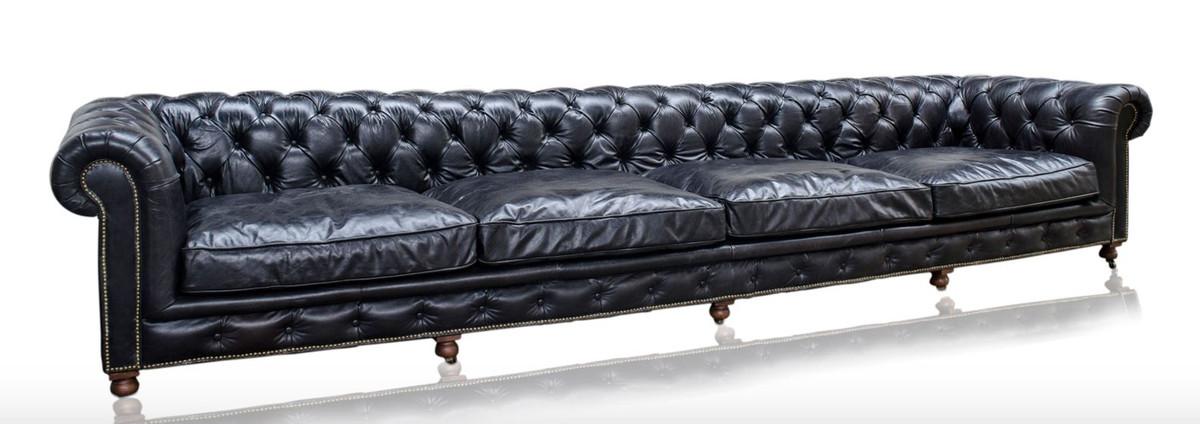 casa padrino luxus 6er sofa schwarz 410 x 120 x h 77 cm chesterfield m bel sofas luxus hotel. Black Bedroom Furniture Sets. Home Design Ideas