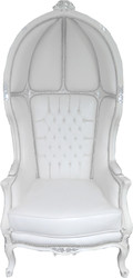 Casa Padrino Baroque Throne Armchair Victory White / Silver - Balloon Chair - Throne Chair Tron Balloon Furniture