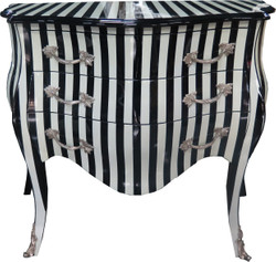 Casa Padrino Baroque Dresser Black / White Stripes 100 cm - Antique Style Furniture - Dresser Drawers Cabinet Striped