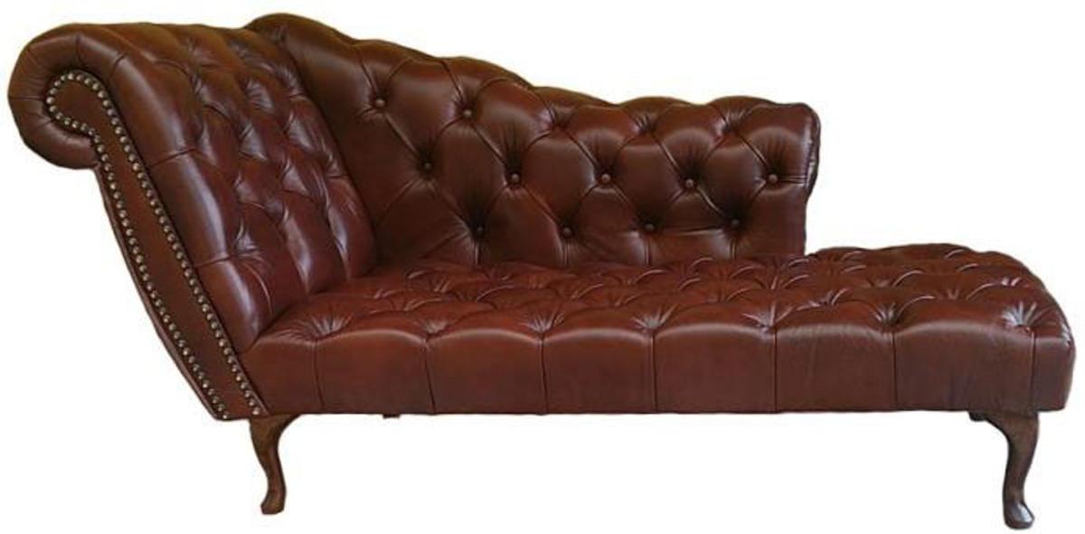 Casa padrino chesterfield chaiselongue recamiere echt leder dunkelbraun linke seite - Chesterfield chaise longue ...