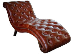 Casa Padrino Chesterfield Real Leather Relax Lounger Dark Brown