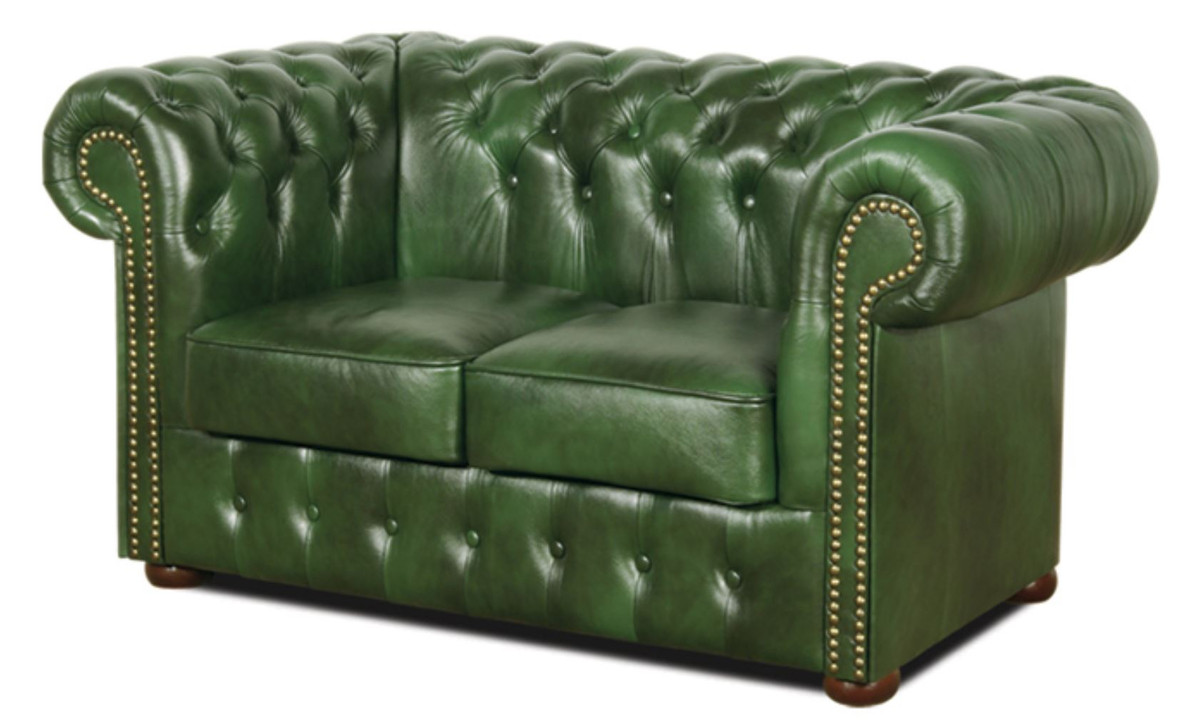 - Casa Padrino Chesterfield Genuine Leather 2 Seater Sofa Green 160