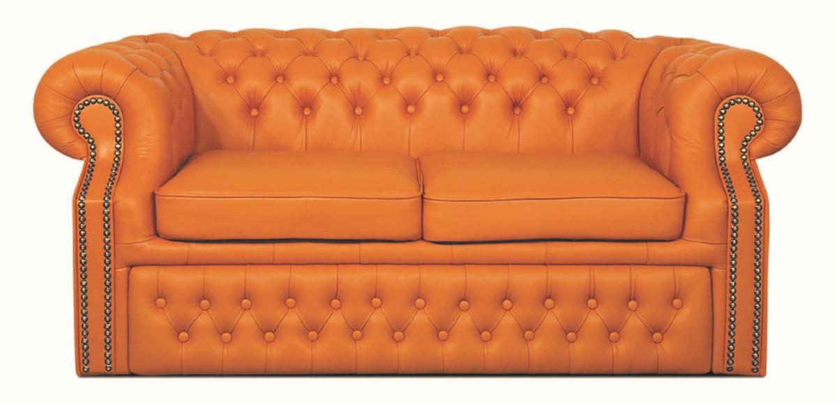 Casa padrino echtleder 2er sofa orange 180 x 100 x h 78 for Echtleder sofa