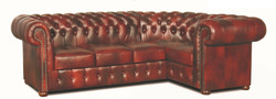 Casa Padrino Chesterfield Genuine Leather Corner Sofa Burgundy 260 x 160 x H. 78 cm - Luxury Living Room Furniture