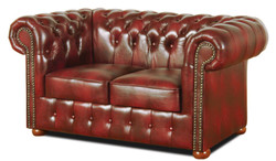 Casa Padrino Chesterfield Living Room Set of 3 Burgundy - Luxury Genuine Leather Furniture  3