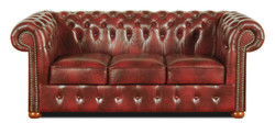 Casa Padrino Chesterfield Living Room Set of 3 Burgundy - Luxury Genuine Leather Furniture  2