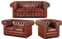 Casa Padrino Chesterfield Living Room Set of 3 Burgundy - Luxury Genuine Leather Furniture