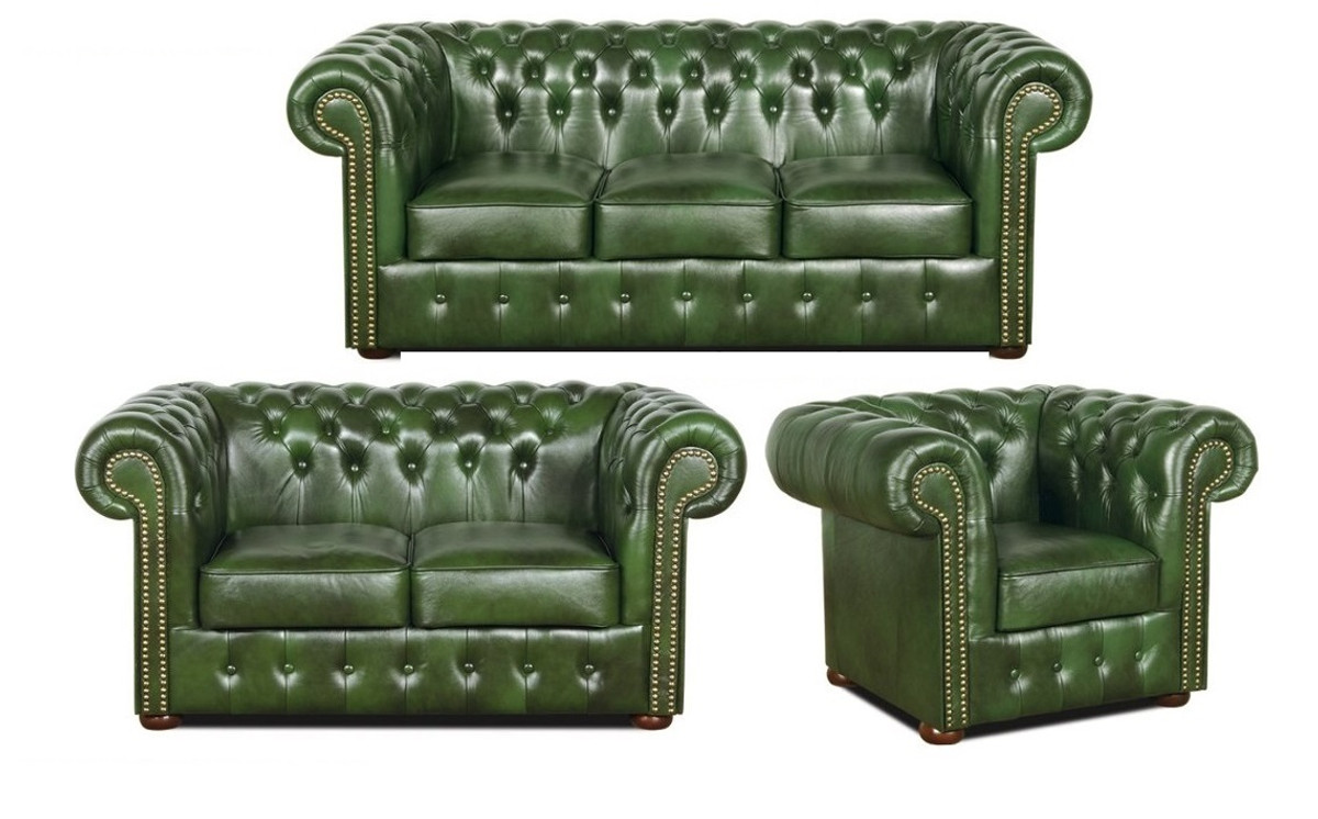 Casa Padrino Chesterfield Wohnzimmer 3er Set Grün   Luxus Echtleder Möbel