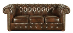Casa Padrino Chesterfield Living Room Set of 3 Dark Brown - Luxury Genuine Leather Furniture  2