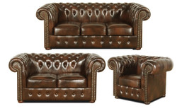 Casa Padrino Chesterfield Living Room Set of 3 Dark Brown - Luxury Genuine Leather Furniture  1