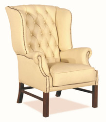 Casa Padrino Chesterfield Genuine Leather Ears Armchair Cream 80 x 80 x H. 110 cm - Luxury Armchair