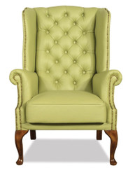 Casa Padrino Chesterfield Genuine Leather Ears Armchair Light Green 80 x 80 x H. 110 cm - Luxury Armchair